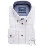 Ledûb Heren overhemd wit ruit print modern fit non iron blauw