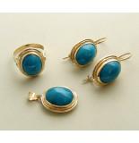 Christian Gouden ring, oorbellen en hanger met turkoois