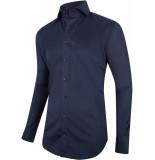 Cavallaro Heren overhemd twill ml7 two ply cutaway italian fit blauw