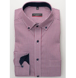 Eterna Heren overhemd geruit poplin button-down non iron modern fit rood