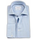 Thomas Maine Heren overhemd streep dubbele manchet tailored fit blauw