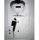 Eterna Heren overhemd poplin widespread stippen contrast print comfort fit wit
