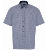 Eterna Heren overhemd blauw korte mouw ruit poplin button-down