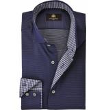 Circle of Gentlemen Heren overhemd blauw fijne stip cutaway slim fit