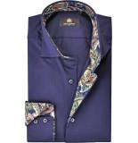 Circle of Gentlemen Overhemd cedric paisley kleuren contrast slim blauw