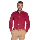 Campbell Casual overhemd met lange mouwen babycord bordeaux
