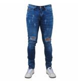 Bravo Jeans Heren jeans damaged look white wash stretch lengte 34 denim blauw
