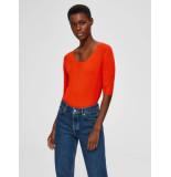 Selected Femme 16071572 slfmarge 2/4 knit rib deep o-neck b oranje