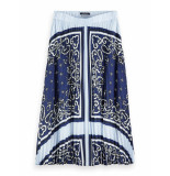 Scotch & Soda 154554 0217 ams pleated plisse skirt/rok combo a blauw