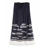 Scotch & Soda 154423 0598 long drapey skirt with seasonal artwork blauw
