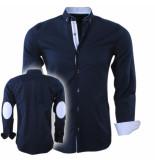 Gasparo Heren overhemd met geruit motief in de kraag blauw