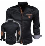 Megaman Heren overhemd met suede elleboogstukken zwart