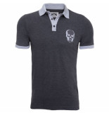 Pascucci Heren polo skull slim fit stretch antraciet