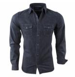 Lemon and Soda Heren jeans overhemd borstzakken slim fit zwart