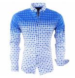 Megaman Heren overhemd met trendy design stretch wit blauw