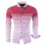 Megaman Heren overhemd met trendy design stretch wit bordeaux