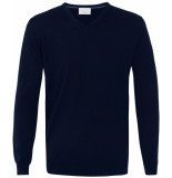 Profuomo Heren trui blauw italiaans merino wol v-hals slim fit