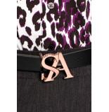 Studio Anneloes Sa logo buckle leather belt 03868 zwart