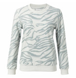 YAYA 1009280-011 cotton blend sweatshirt with animal print grijs