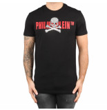 Philipp Plein T-shirt round neck ss skull strass black-red zwart