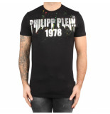 Philipp Plein T-hirt round neck painted black zwart