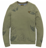PME Legend Psw201405 6149 crewneck embroidered sweat deep lichen green