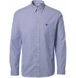 Selected Homme Heren overhemd donker oxford button-down regular fit blauw