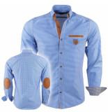 Megaman Heren overhemd met elleboog pads slimfit geblokt blauw wit