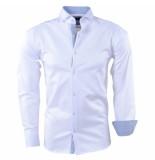 Pradz 2018 Heren overhemd gestreepte kraag slimfit wit