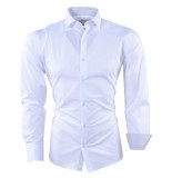 Pradz 2018 Heren overhemd gestreepte kraag slim fit wit