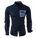 MZ72 Heren overhemd camouflage borstzak densport blauw