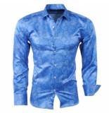 Pradz 2018 Heren overhemd paisley donker blauw