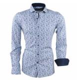 Dom Tower Heren overhemd met trendy design blauw