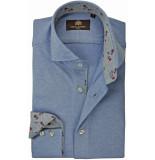 Circle of Gentlemen Overhemd jersey herringbone print contrast slim fit blauw
