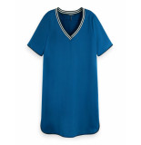 Maison Scotch 155951 3558 ribbed v-neck dress/jurk with bindings blue lagoon blauw