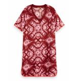 Scotch & Soda 155951 0218 ribbed v-neck dress/jurk with bindings combo b rood