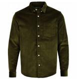 Kronstadt Overhemd johan corduroy olive green - groen