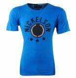Nickelson Heren tshirt ronde hals stars strass stenen slim fit cobalt blauw