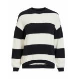 Object Stripe trui 23030065 black gardenia stripe - zwart