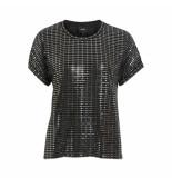 Object T-shirt zilver 23030726 black silver - zwart