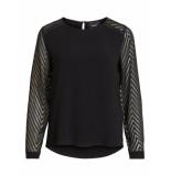 Object Lang shirt 23028558 zoe ls top black - zwart