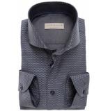 John Miller Heren overhemd donker met grote stippen cutaway tailored fit