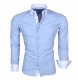 Montazinni Overhemd met witte kraag licht blauw