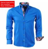 Montazinni Trendy heren overhemd met bloemen motief in de kraag blauw
