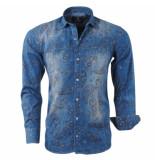 rVvaldi Heren denim overhemd paisley design blauw