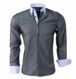 Montazinni Slimfit overhemd met witte kraag antraciet