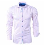 Bravo Jeans Heren overhemd gestreept slim fit wit roze